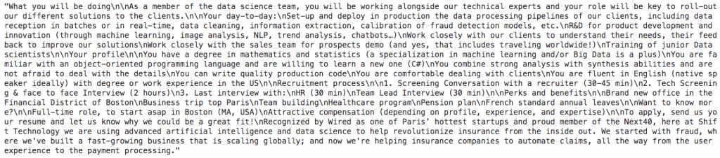 job descriptions text