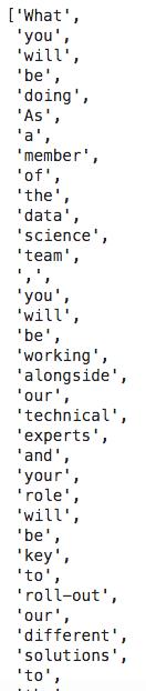job descriptions text tokens