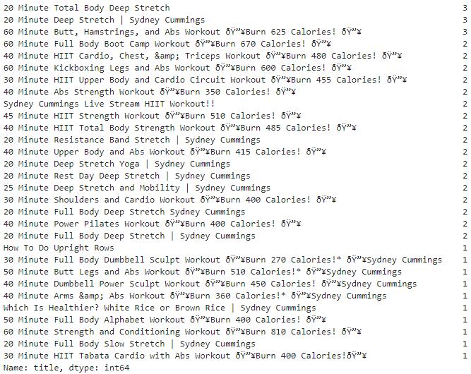 youtube titles duplicates